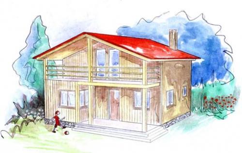 plano casa de madera nora