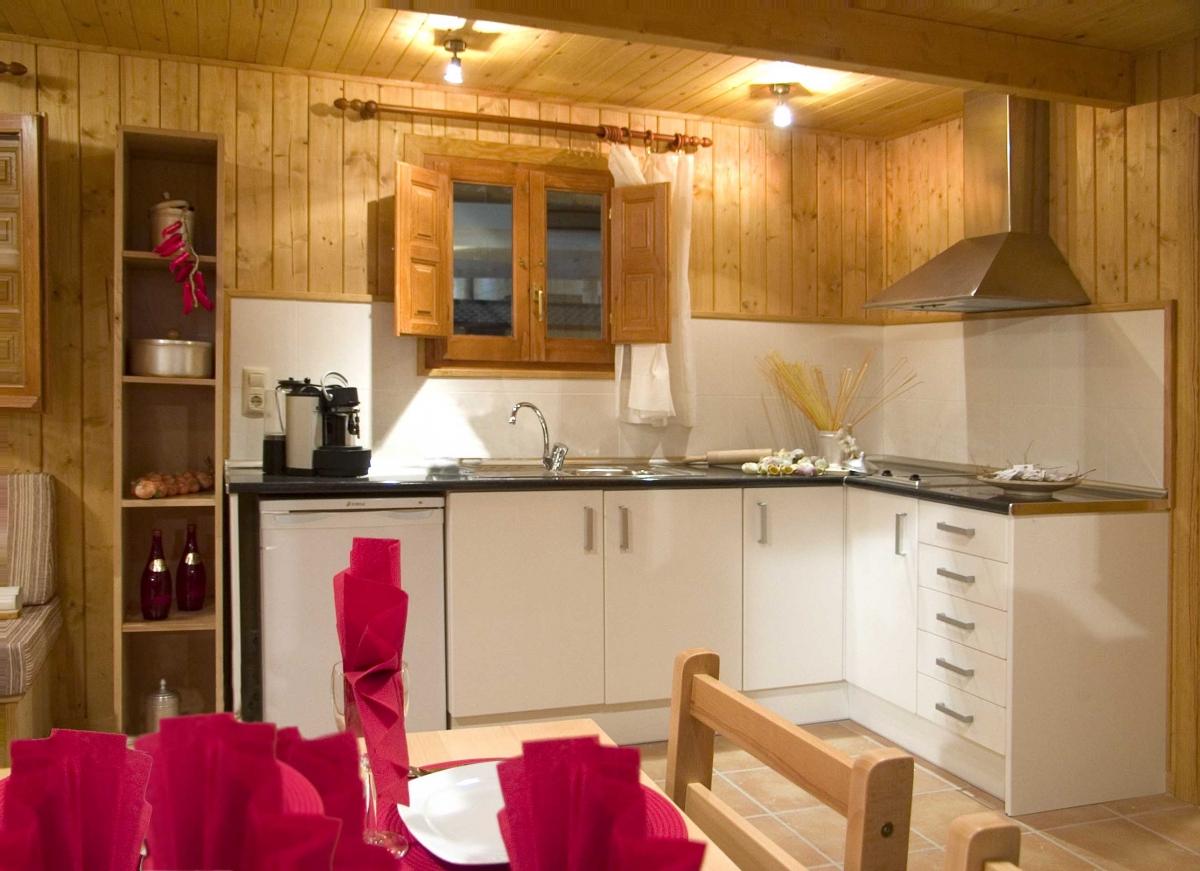camping, mobil-home, interior, cocina