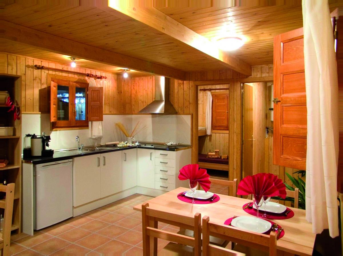 camping, mobil-home, cocina