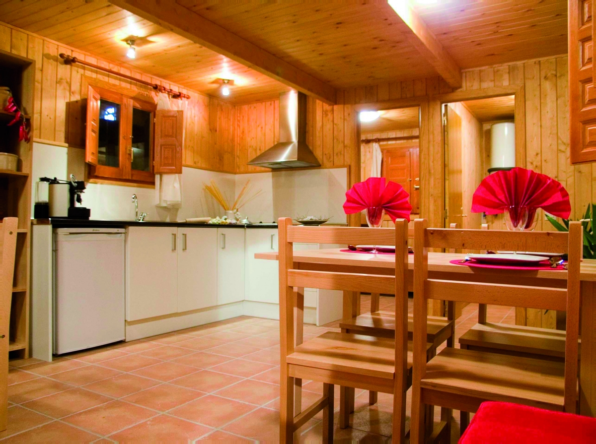 camping, mobil-home, salon, cocina